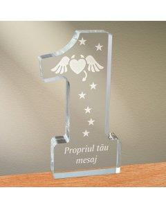 Cadou personalizat trofeu plexiglas cifra - Inima dracusor