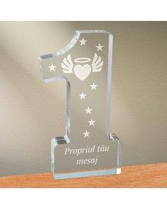 Cadou personalizat trofeu plexiglas cifra - Inima inger