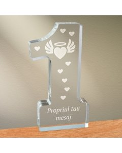 Cadou personalizat trofeu plexiglas cifra inimi - Inima inger