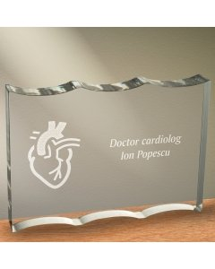 Cadou personalizat trofeu plexiglas dreptunghiular tesitura ondulata - Doctor cardiolog