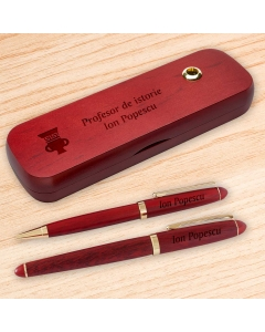 Cadou personalizat set instrumente de scris din palisandru - Profesor de istorie   Ghizbi.ro