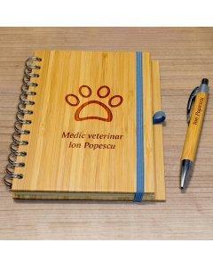 Cadou personalizat agenda si pix din lemn - Doctor veterinar