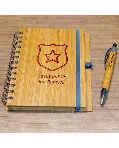 Cadou personalizat agenda si pix din lemn - Politist