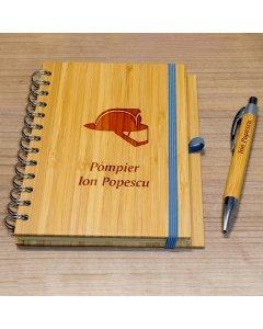 Cadou personalizat agenda si pix din lemn - Pompier