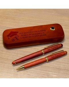 Cadou personalizat set instrumente de scris din palisandru - Fericirea depinde de ce gandesti