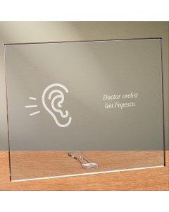 Cadou personalizat placheta din plexiglas - Doctor orelist
