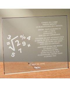 Cadou personalizat placheta din plexiglas - Matematica este partea exacta a gandirii