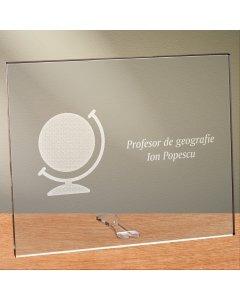 Cadou personalizat placheta din plexiglas - Profesor de geografie   Ghizbi.ro