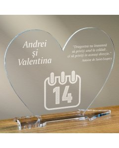 Cadou personalizat placheta plexiglas inima - 14 februarie