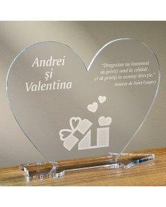 Cadou personalizat placheta plexiglas inima - Cadou din dragoste