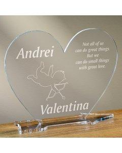Cadou personalizat placheta plexiglas inima - Dovada de iubire