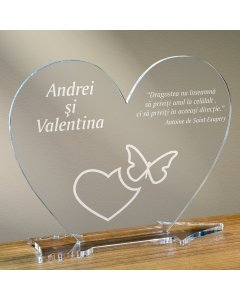 Cadou personalizat placheta plexiglas inima - Emotii de iubire