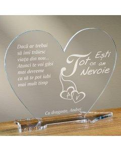 Cadou personalizat placheta plexiglas inima - Esti tot ce am nevoie | Ghizbi.ro