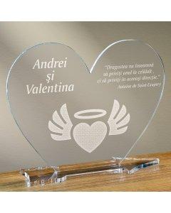 Cadou personalizat placheta plexiglas inima - Inima inger
