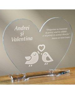 Cadou personalizat placheta plexiglas inima - Perechea perfecta