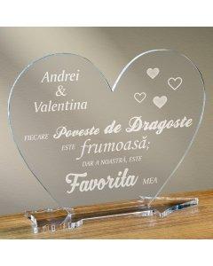 Cadou personalizat placheta plexiglas inima - Povestea de dragoste favorita
