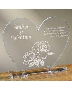 Cadou personalizat placheta plexiglas inima - Trandafir