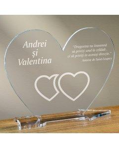 Cadou personalizat placheta plexiglas inima - Unul langa celalalt