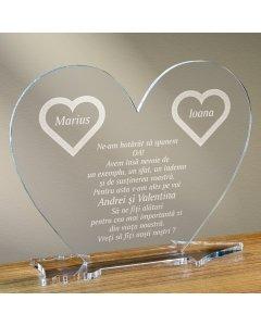 Cadou personalizat placheta plexiglas inima - Vreti sa fiti nasii nostri