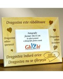 Cadou personalizat rama din lemn - Dragostea este rabdatoare