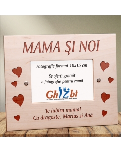 Cadou personalizat rama din lemn - Mama si noi | Ghizbi.ro