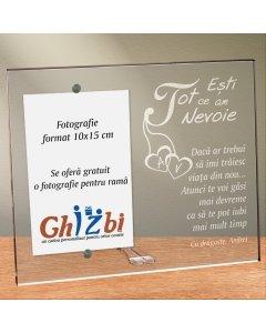 Cadou personalizat rama plexiglas - Esti tot ce am nevoie | Ghizbi.ro