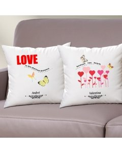 Cadou personalizat set perne - Love is the shortest distance