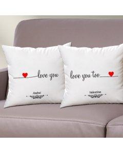 Cadou personalizat set perne - Love you too