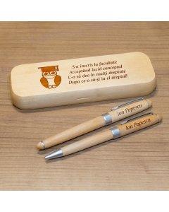 Cadou personalizat set pixuri si penar din lemn -  Absolvent la drept