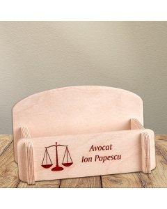 Cadou personalizat suport carti de vizita din lemn - Avocat