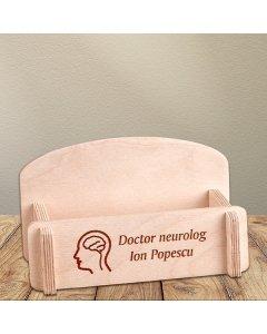 Cadou personalizat suport carti de vizita din lemn - Doctor neurolog
