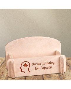 Cadou personalizat suport carti de vizita din lemn - Doctor psiholog