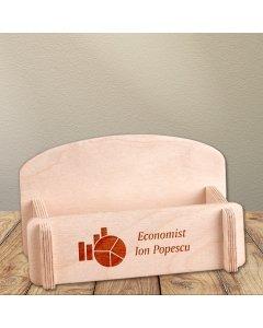 Cadou personalizat suport carti de vizita din lemn - Contabil