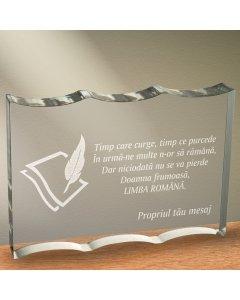 Cadou personalizat trofeu plexiglas ondulat - Limba romana nu se pierde | Ghizbi.ro