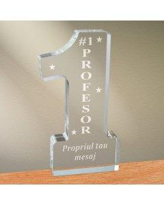 Cadou personalizat trofeu plexiglas cifra - Cel mai bun profesor