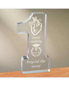 Cadou personalizat trofeu plexiglas cifra - Doctor cardiolog
