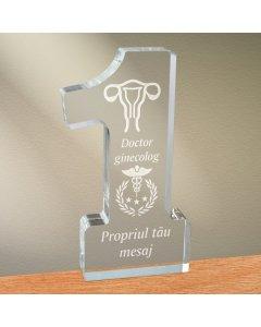 Cadou personalizat trofeu plexiglas cifra - Doctor ginecolog