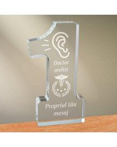 Cadou personalizat trofeu plexiglas cifra - Doctor orelist