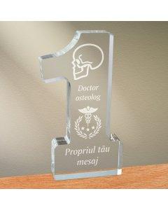 Cadou personalizat trofeu plexiglas cifra - Doctor osteolog
