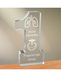 Cadou personalizat trofeu plexiglas cifra - Doctor pneumolog