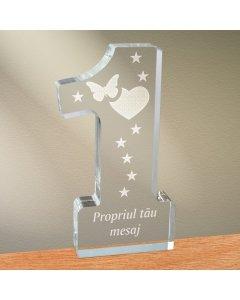 Cadou personalizat trofeu plexiglas cifra - Emotii de iubire