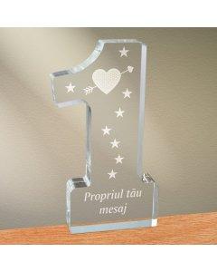 Cadou personalizat trofeu plexiglas cifra - Indragostit