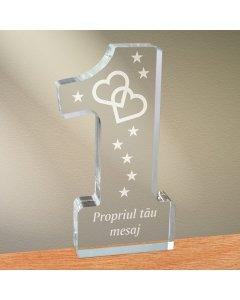 Cadou personalizat trofeu plexiglas cifra - Inimi legate