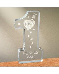 Cadou personalizat trofeu plexiglas cifra - Notita de iubire