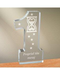 Cadou personalizat trofeu plexiglas cifra - Timp pentru iubire