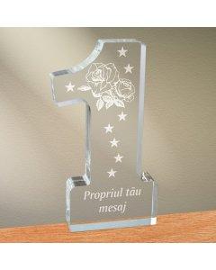 Cadou personalizat trofeu plexiglas cifra - Trandafir