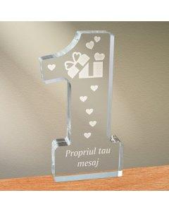 Cadou personalizat trofeu plexiglas cifra inimi - Cadou din dragoste