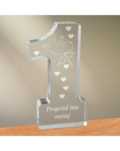 Cadou personalizat trofeu plexiglas cifra inimi - Dovada de iubire