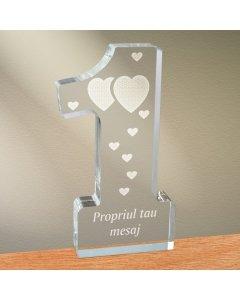 Cadou personalizat trofeu plexiglas cifra inimi - Unul langa celalalt