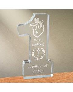 Cadou personalizat trofeu plexiglas cifra medical - Doctor cardiolog